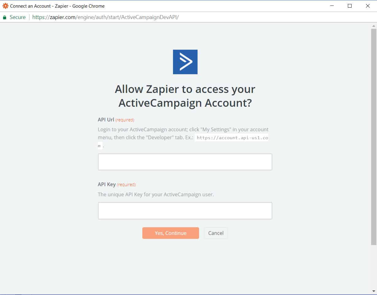 API URL for Active Campaign