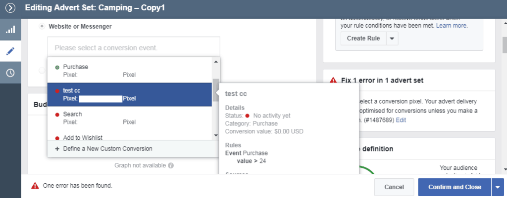 Selecting the Facebook custom conversions pixel for optimization