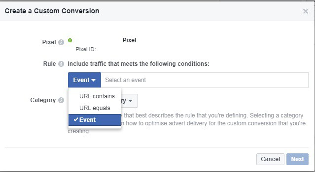 Selecting the Facebook custom conversion Rules