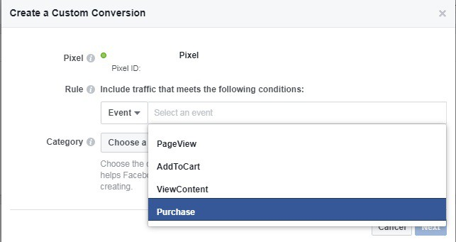 Setting up trigger rules for Facebook custom conversions