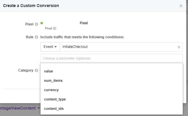 Assigning the Facebook custom conversions pixel