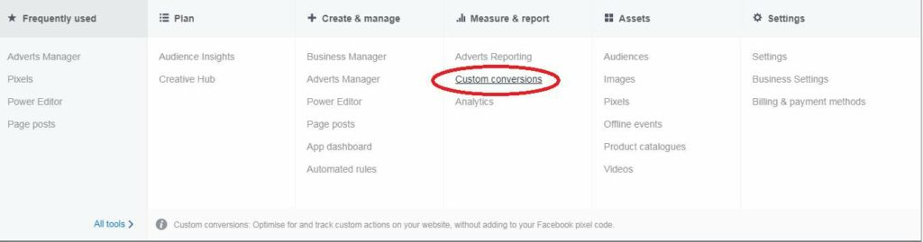 Locating the the pixel for Facebook custom conversions