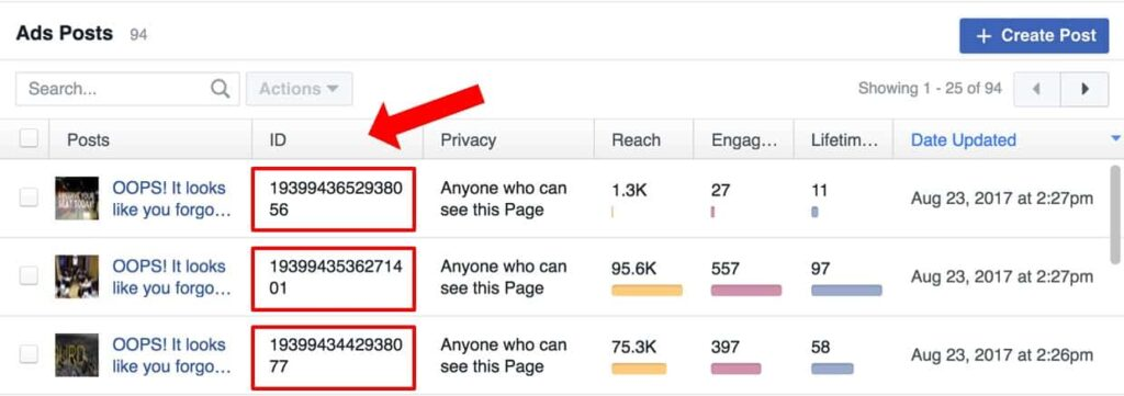 Facebook Ad Existing Post ID Screenshot