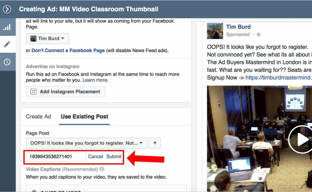Facebook Ads Existing Post ID