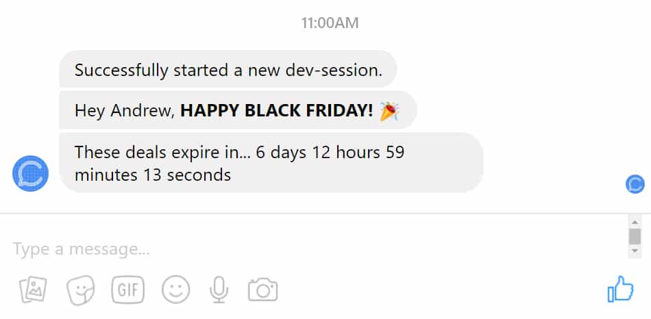 Facebook Messenger Chatbot Countdown Timer Plugin