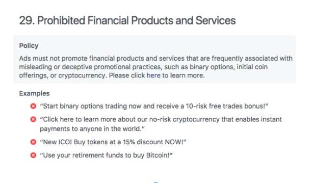 FB Bans Cryptocurrency